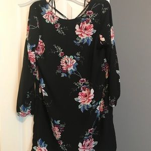 Long Sleeve Floral Short Dress